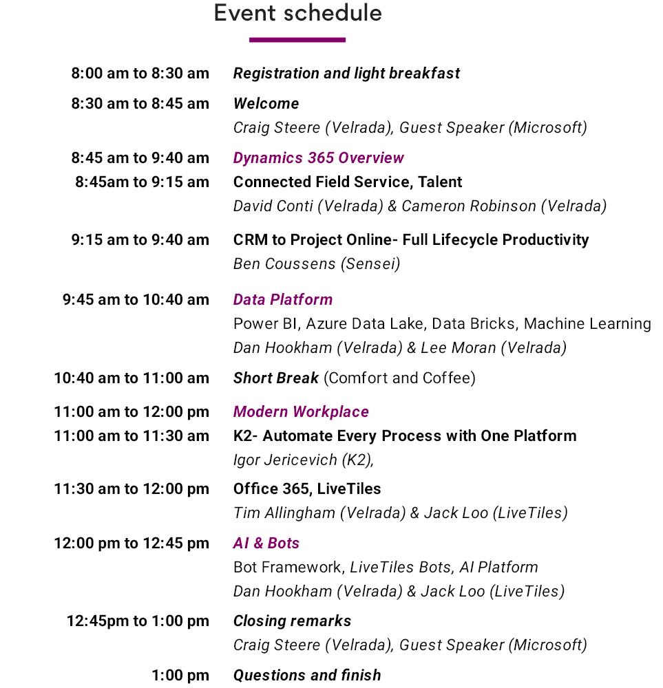 Velrada V:Inspire Sydney Event Schedule
